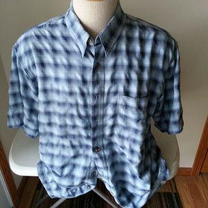 Royal Robbins 2 tone blue check shirt - mens XL
